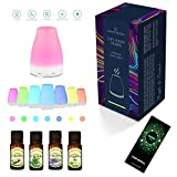 Difusian NUBIS - Difusor ultrasónico de aceites esenciales para aromaterapia, con luces LED + 4 botellas de 10 ml de aceites esenciales (Árbol de té, Menta, Lavanda y Eucalipto) - Para el hogar, yoga, oficina, spa, dormitorio, habitación de los niños, etc.