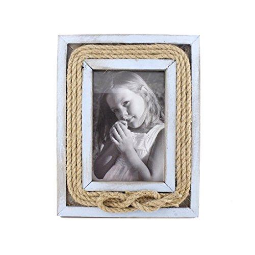 10,2x 15,2cm Holz Jute Seil Bilderrahmen mit Glas Front, holz, blau, 4x6 Inches (Primitive Bilderrahmen)