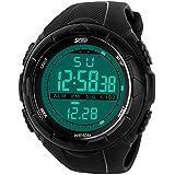 Sport Watch by CIVO Men's Multifunctional Military Waterproof Simple Design Big Case Digital LED Screen Casual Business Watch with Microfiber Bonus