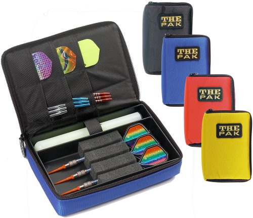 THE PAK strapazierfähige rote Nylon-Tasche für 1-2 Sets montierter Darts und zusätzlichen Fächern für Flys und Ersatzschäfte. 802303
