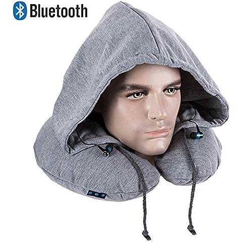 KooKen Aerato Cuscino da viaggio con il cappello auricolare Bluetooth per la tua musica e le chiamate - Grigio