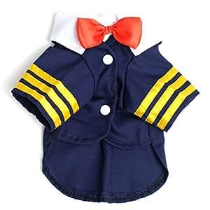 Ranphy Petit Chien Vêtements pour femelle mâle Bleu marine Costume Capitaine uniforme Nœud papillon Dog Costume Chemises d'été