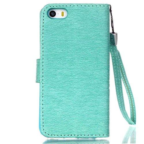 iPhone Case Cover iphone5,5s, malte bunte muster geldbeutel stil kreditkarten - inhaber fall magnetischen design - pu - leder - deckung steht auf decken – für iphone5,5s ( PATTERN : H , Size : IPhone5 A