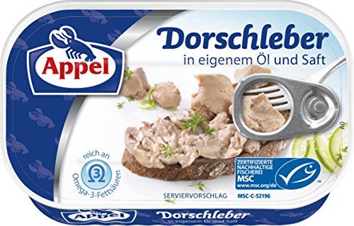 Appel Dorschleber in eigenem Öl und Saft, 12er Pack (12 x 115 g)