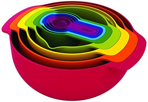 Joseph Joseph - Nest 9 Plus Rouge - Set Compact de Bols, Passoires et Doseurs - Multicolore
