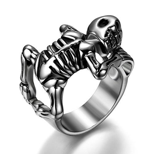 ker Edelstahl Herren-Ring, außerirdisch Skelett Schädel Totenkopf Sensemann, Punk Rock Stil Hochzeit Ring Band für Halloween Weihnachten Größe 67 (Außerirdischer Halloween)