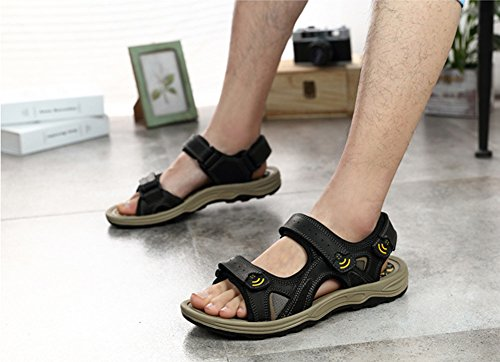 Wealsex sandalen herren flache hausschuhe H Schwarz