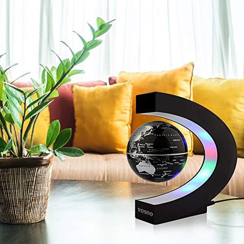 Yosoo® C Forma Globo Fluttuante con LED a Levitazione Magnetica, per l'Istruzione, Imparare, Insegnare, Decorazione della Casa Ufficio, Idee Regalo – Nero - 5