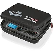 Wicked Chili GOP Case M für GoPro Hero 5 / 4 / 3+ / 3 / 2 / 1, QUMOX SJ4000 / SJ5000 / SJ6000, Xiaomi Yi - Tasche für Kamera, LCD und Zubehör (Größe: M, Utensilienfach mit Zipper und Trageriemen)