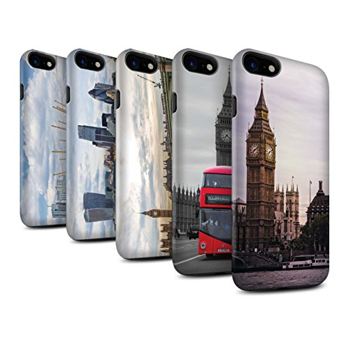 STUFF4 Matte Harten Stoßfest Hülle / Case für Apple iPhone 7 / City of London Muster / Seiten London Kollektion Pack 14pcs