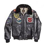 COCKPIT USA Blouson Aviateur En Cuir Top Gun NAVY G-1 ex AVIREX MADE IN USA (XS, Noir)