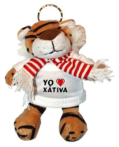 Tigre de peluche (llavero) con Amo Xàtiva en la camiseta...