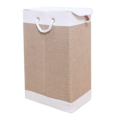 WM Homebase Stoff Faltbare Wäschekorb für Kinderzimmer Bad oder Schlafzimmer Organizer Korb Wäschesammler Bodenkorb mit Deckel 36x21x60 cm