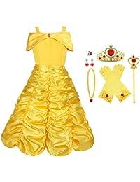 Vicloon Prinzessin Kostüm Mädchen, Eiskönigin ELSA Kleid Blau/Gelb mit Diademe, Zauberstab, Handschuhe und anderes Zubehör, für Weihnachten Karneval Party Halloween, Größe 100-150cm