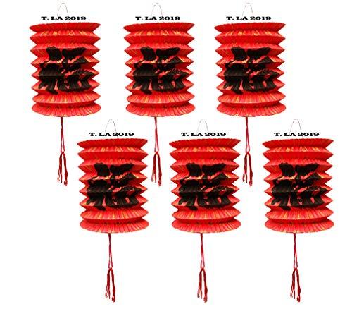 Lot de 12 lanternes en papier - 10 cm de diamètre - Pour le Nouvel an chinois - Rouge