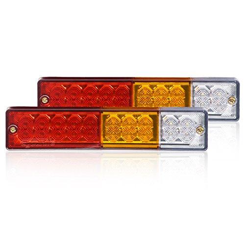 Eyourlife 2pcs 12V Feux Arrière 20 LEDs Inverse Lampe Imperméable Freinage pour Remorques Camions Bateaux Caravane etc