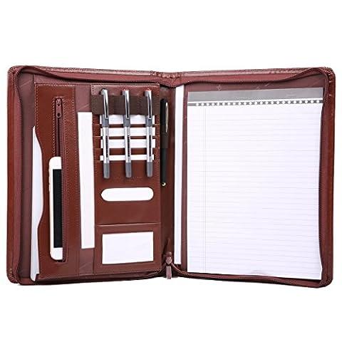Leathario A4 Ultra-feine Faser Schreibmappe Portfolio Dokumenten-Mappe Konferenzmappe A4 Reißverschluss, inkl. Schreibblock, Braun