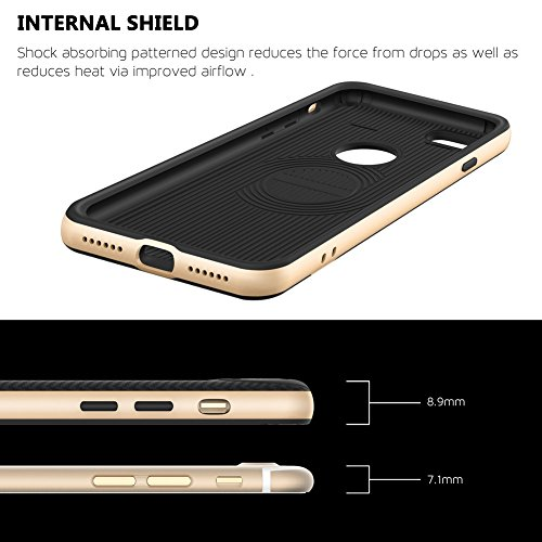 Coque iPhone 7, [Premium Armor] TPU Pare Carbone Fibre Coated Dual Layer Protective Housse Etui Pour iPhone 7 [Rose Gold] Gold/For iPhone 7