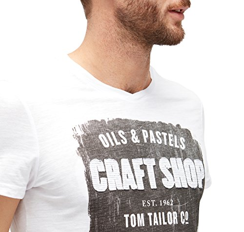 TOM TAILOR Herren T-Shirt Deep V-Neck Tee with Print White