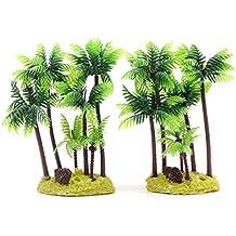 M2CBridge Juego de 2 plástico Coco árbol Plantas Palm Tree para Fish Tank Acuario Decoración