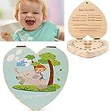 Holz Milchzähne Box EUZeo Herzförmig Kinder Junge Mädchen Souvenir Aufbewahrungsbox [Englische Version] (C)