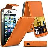 ( Orange ) Apple Iphone 5 Premium Faux Kredit / Debit-Karten-Slot Leder Flip Case Hülle & LCD-Display Schutzfolie by Fone-Case
