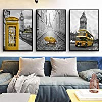 xwwnzdq 3 Piece City Street Landscape Yellow Phone Booth Umbrella Bus Canvas Art Painting Print Poster Picture For Living Room Home Wall Decor