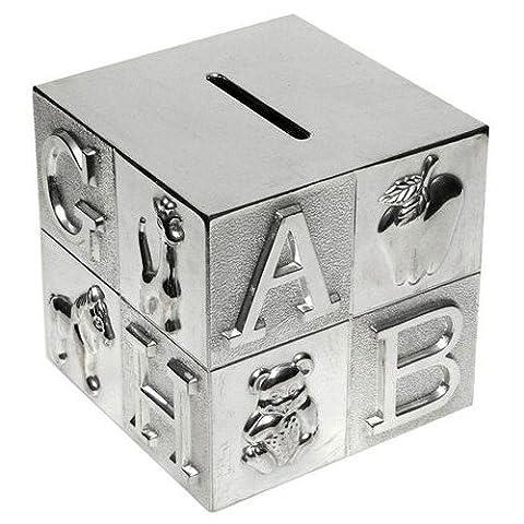 Tirelire plaqué argent - Cube ABC - idée Cadeau Communion Baptème