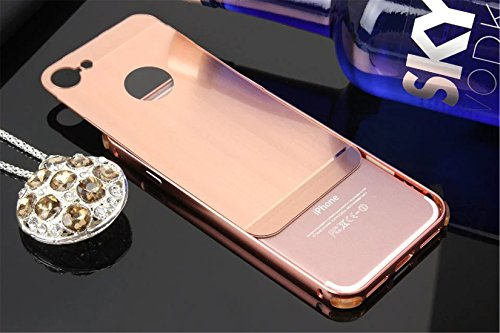 Coque iphone 7 Brushed Aluminium Métal Luxe Bumper couleur Etui Housse pour Apple iphone 7 (4,7 pouces) argen Rose