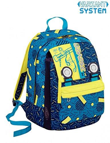 Zaino scuola seven swag boy blu giallo estensibile - variant system - 32 lt - elementari e medie inserti rifrangenti 43,5x30x21cm