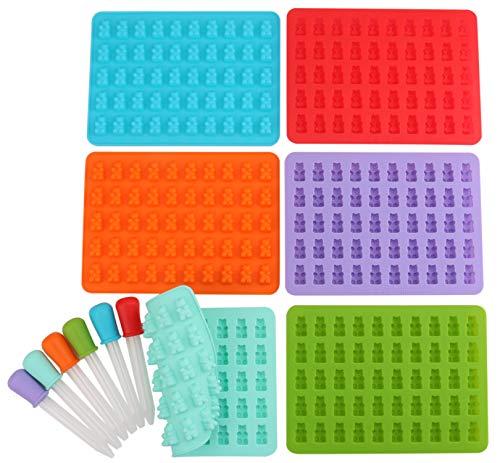 Lawei 6 Stück Gummibärchen & Schokolade Formen Silikon Süßigkeit Gummi Formen Pralinenformen mit 6 Pipetten, 6 Farben - 18,5 x 13,5 cm