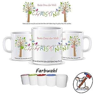 Tasse für die Beste Oma der Welt/Tasse Oma/personalisierte Tasse mit Name/Tante/Mama/Patentante/Danke/Muttertag/Geburtstag/TEXT OBEN UNTEN UND NAME PERSONALISIERBAR