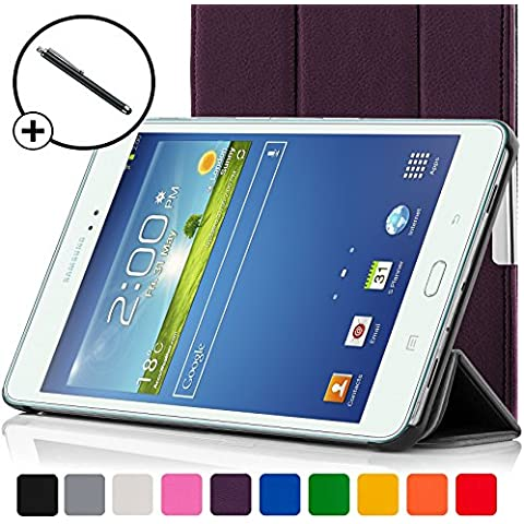 ForeFront Cases®–Case con soporte funda de piel sintética para Samsung Galaxy Tab 38.08GB 3G + WiFi–con Magnético Auto de función de reposo–Incluyen lápiz violeta morado Galaxy Tab 3