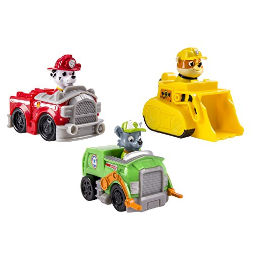 Spinmaster 6024058 - Paw Patrol Rescue Racer 3 Personaggi, Marshall, Rocky e Rubble