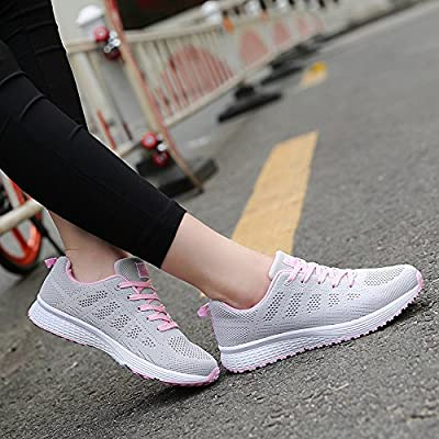 Vinstoken Damen Fitness Laufschuhe Sportschuhe Schnüren Running Sneaker Netz Gym Schuhe Schwarz Blau Grau Weiß 35-40