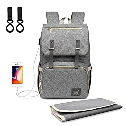 Nappy Changing Backpack Diaper Backpack Outdoor Travel Backpack Large Capacity With Nappy Changing Pad Stroller Straps & Usb Charging Port
