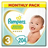 Pampers Premium Protection, Monthly Saving Pack, Soft Comfort, Approved by British Skin Foundation, Size 3, 204 Nappies, 6-10 kg