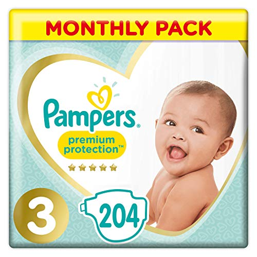 Pampers Premium Protection Size 3, 204 Nappies, Pampers� Softest Comfort, Recommended by British Skin Foundation, 6-10 kg