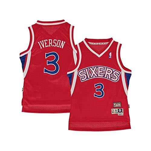 Sportland American - Maillot NBA Allen Iverson Philadelphia Sixers Hardwood Classics Rouge pour Enfants Taille - XL (165-175cm)
