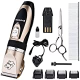 Everesta Low Noise Rechargeable Cordless Pet Dogs and Cats Electric Clippers Grooming Trimming Kit Set (Gold Black)
