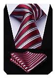Hisdern Extra lange Polka Dots Krawatte Taschentuch Herren Krawatte & Einstecktuch Set Rot & Grau