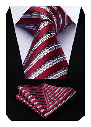 Hisdern Herren Krawatte Gr. Einheitsgröße, Red / Gray (Neck Square Red)