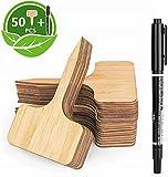 LATERN 50Pcs bambù Etichette per Piante, 10 X 6Cm To-Type Targhette in Legno per Piante Cartellini Ecologici per Semi di Erbe in Vaso Fiori Verdure - con Pennarello