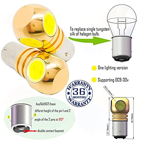 Wiseshine ampoule bay15d 1157 chaud canbus led bulbe DC9-30v 3 ans d'assurance qualité (pack de 2) bay15d 4 led HP blanc pur