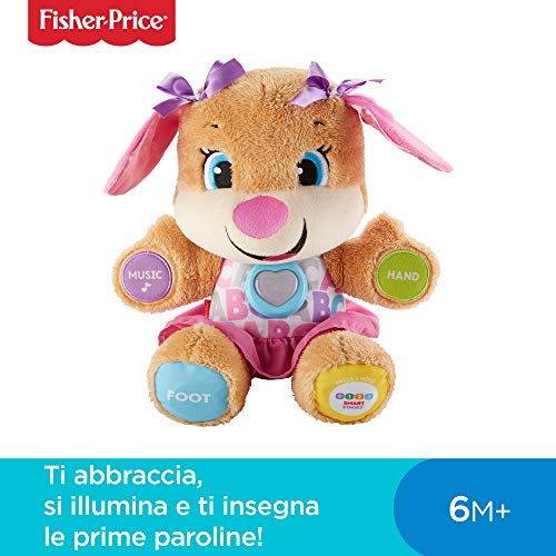 Fisher-Price La Sorellina del Cagnolino Ridi e Impara, Morbido Peluche Educativo con Musica e Canzoni, Adatto per Bambini dai 6 Mesi, FPP54