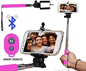 Selfie Stick Monopod With Bluetooth Remote Wireless Shutter Connectivity Compatible For Huawei G9 Lite -Pink