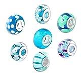 Akki Murano Glas Charms Beads für Armband Kette 8er Set Angebot Perle Blumenmuster Kompatibel mit Pandora Starter muranoglas schwarz weiß pink grün türkis Türkis
