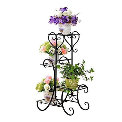 Regal Stehen (BESTONZON Metal Corner Flower Racks Pflanze Blume Display-Ständer 4 Schicht Blumentopf Rack, Pflanzenrahmen, Balkon, Indoor, Outdoor Blumentopf Display Regal)