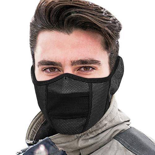 KING BIKE Halbe Sturmhaube Herren Damen Gesichtsmaske Sturmmaske Ohrenwärmer Laufmaske Ski Motorrad Fahrrad Funktionskleidung Atmungsaktiv Klettverschluss ...