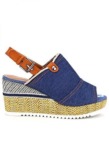 Cendriyon, Compensée blue jean ESPADRILLA Chaussures Femme Bleu